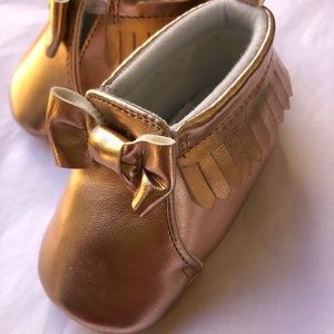 CHILD OF MINE rosey gold moccasins